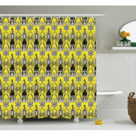 Grey And Yellow Shower Curtain Indian Orietal Paisley Floral Design Ivy Swilrs Image Fabric