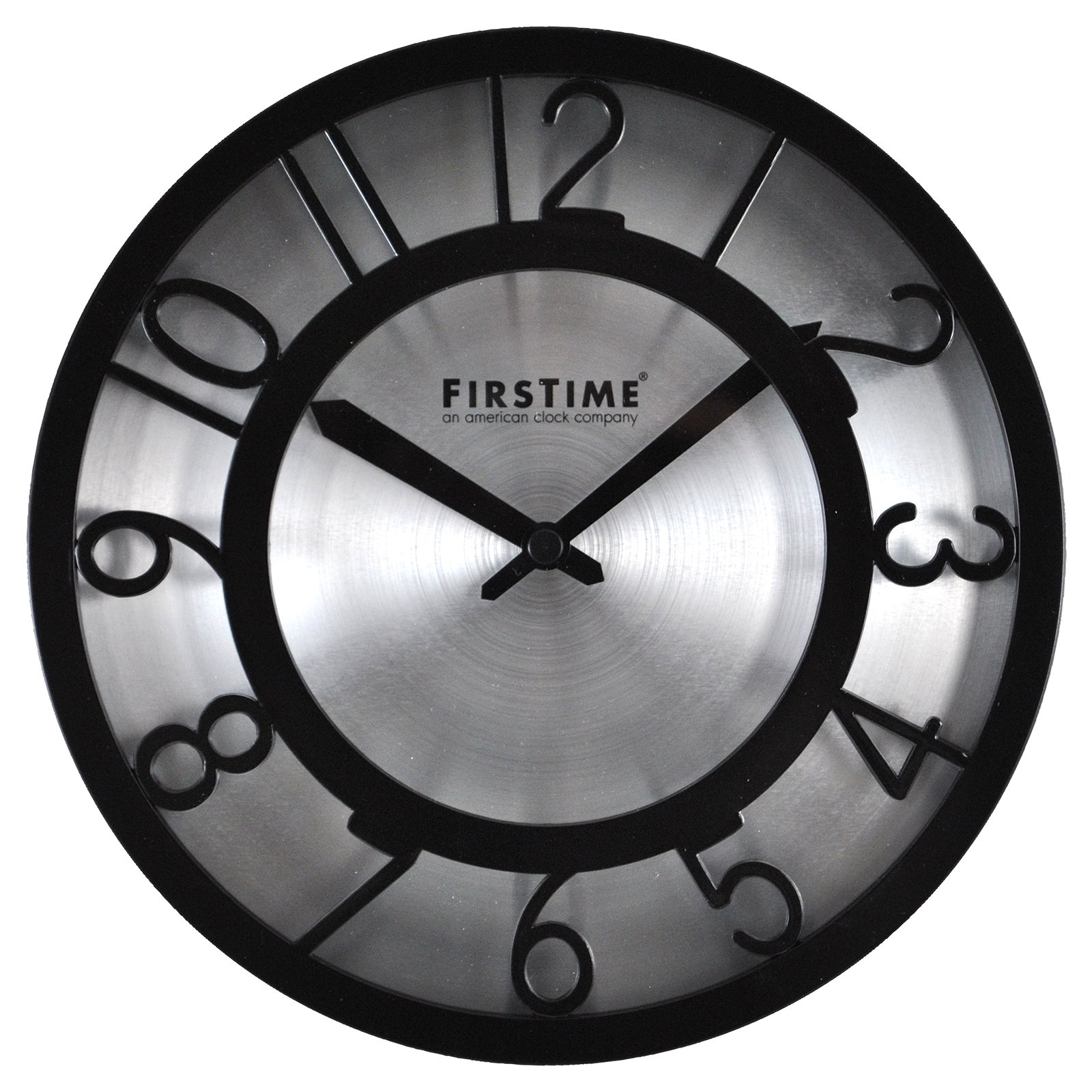 FirsTime Black on Steel Wall Clock