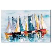 Runway Avenue Nautical and Coastal Wall Art Canvas Prints 'Beautiful Boat Day' Nautical Watercrafts - Blue, Orange