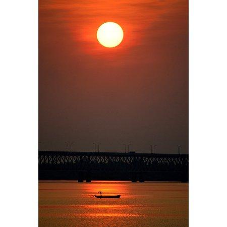 Laminated Poster Bridge Boat River Water Scarlet Sunset Red Poster Print 24 x (Sunset Water)
