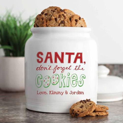 Santa, Don't Forget The Cookies Personalized Christmas Cookie Jar