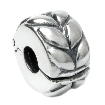 Queenberry Sterling Silver Leaf clip Lock Clasp European Bead Charm