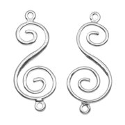 Nunn Design Bright Silver Plated Pewter Swirl Connector 33mm (2)