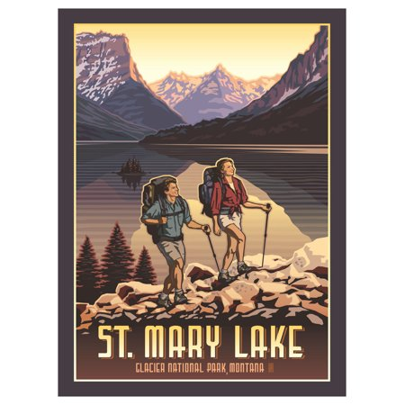 Glacier National Park St. Mary Lake Hikers Travel Art Print Poster by Paul Leighton (9