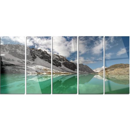 Design Art Clear Mountain Lake Under Bright Sky 5 Piece Photographic Print On Canvas Set