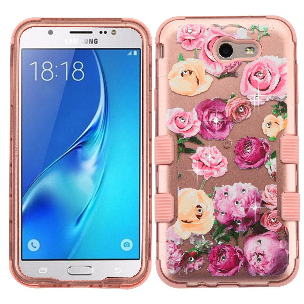 Samsung Galaxy J7 Sky Pro 4G LTE Case - TUFF Series [Military Grade Drop Tested - MIL-STD 810G-516.6] Heavy Duty Shock Resistant Protective Case (Roses Bling) and Atom Cloth
