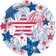 "9"" Fourth of July Fireworks Paper Dinner Plates, 8ct"