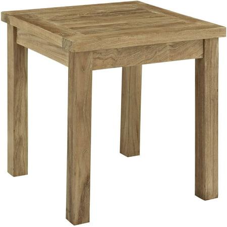 Modway marina outdoor patio teak side table natural for Outdoor teak side table