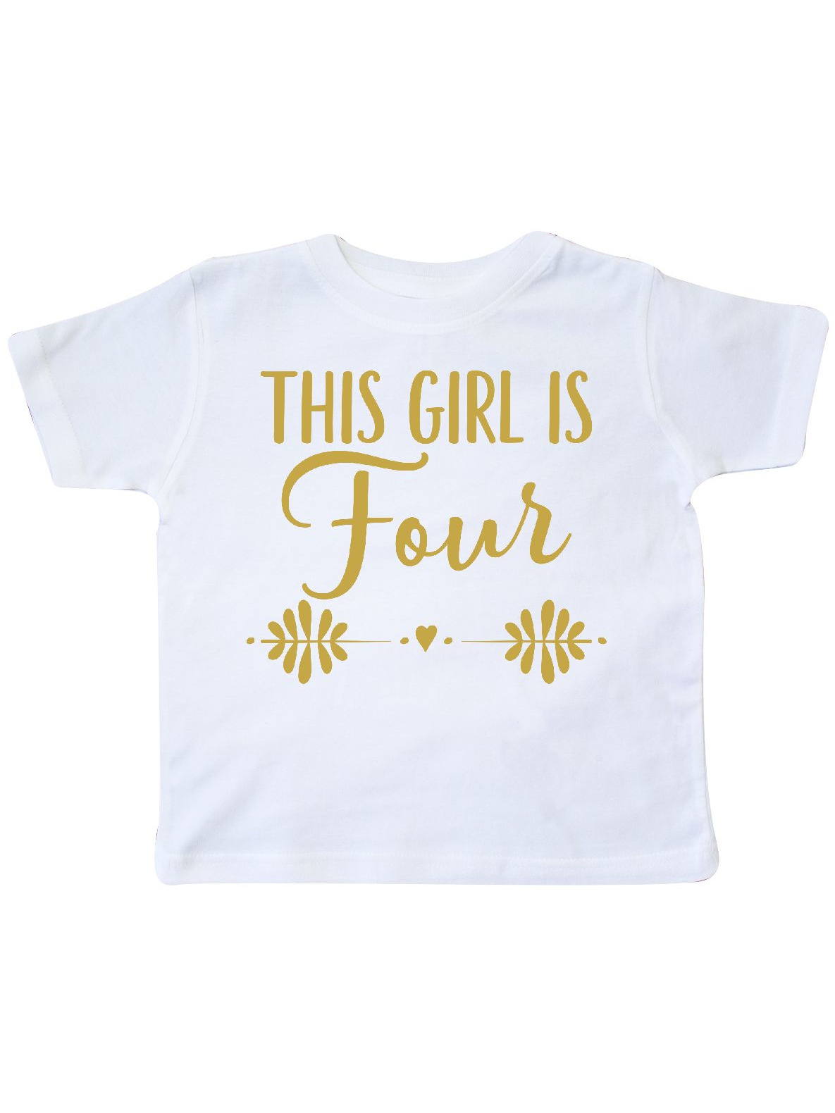 4th Birthday Gold 4 Year Old Party Girls Toddler T-Shirt