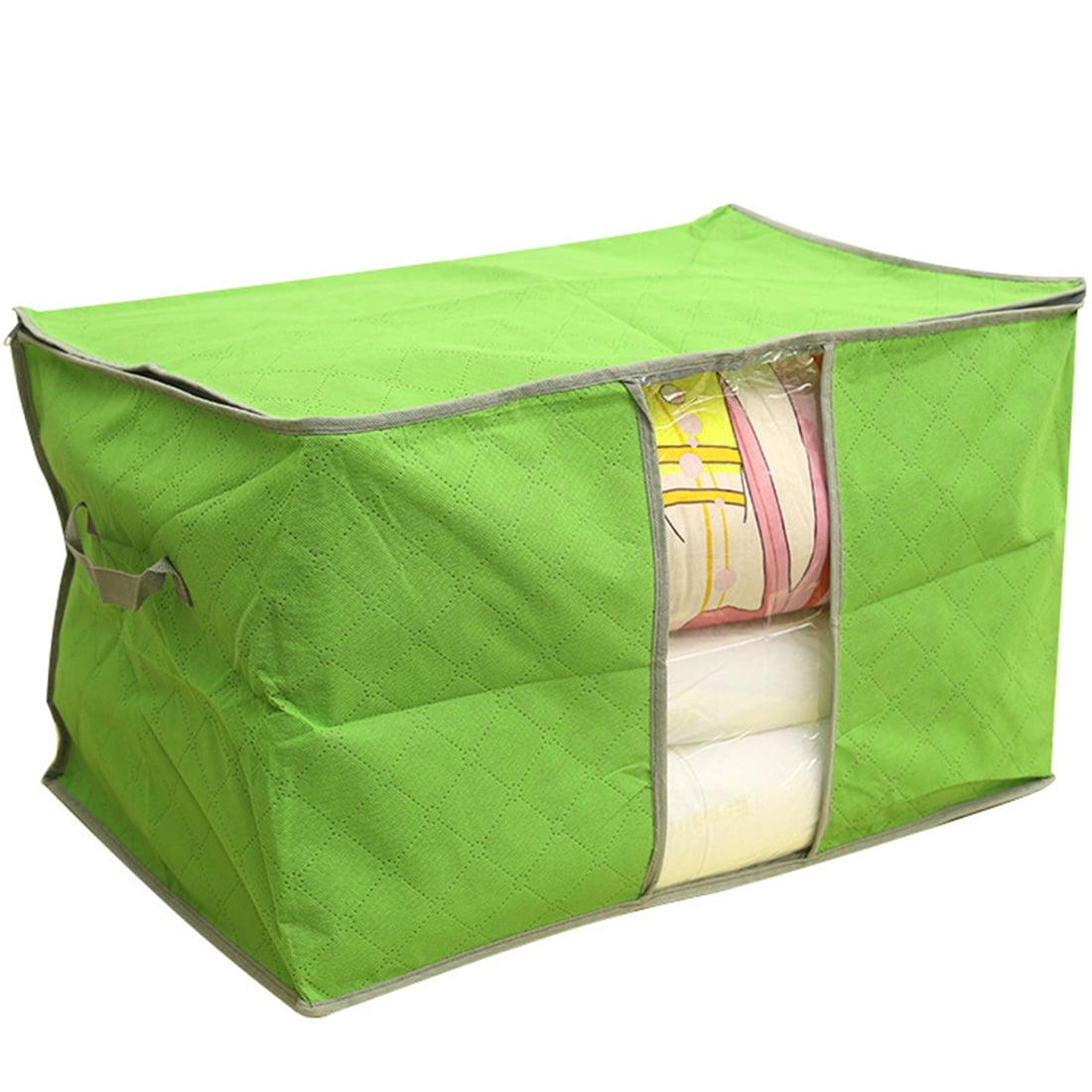 Bamboo Charcoal Zipper Grips Cloths Quilt Bedding Storage Bag Orange 58x41x35cm