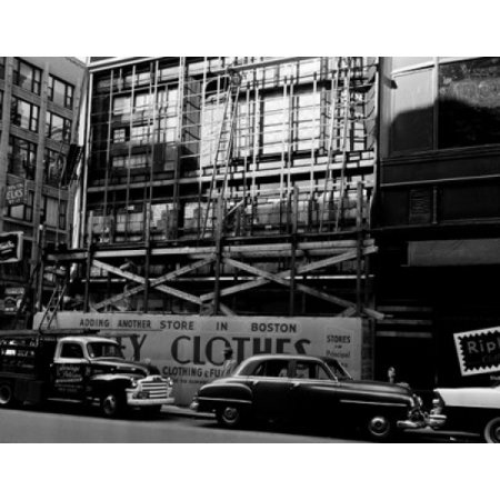 USA Massachusetts Boston cars parked against building with scaffolding Canvas Art - (24 x 36)