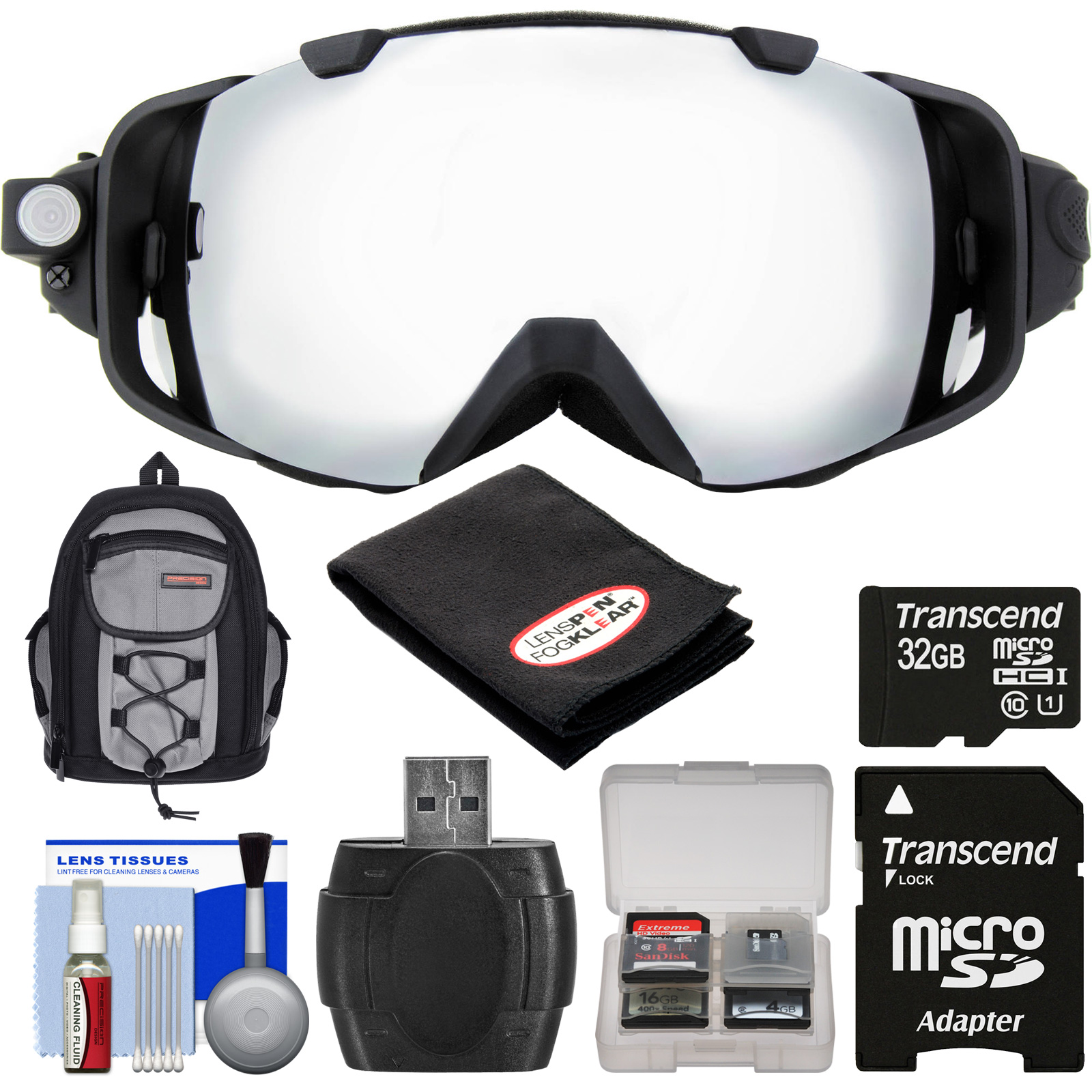 Coleman VisionHD G9HD-SKI 1080p HD Action Video Camera Camcorder Waterproof POV Snow and Ski Goggles with 32GB Card + Backpack + Anti-Fog Cloth + Reader + Kit