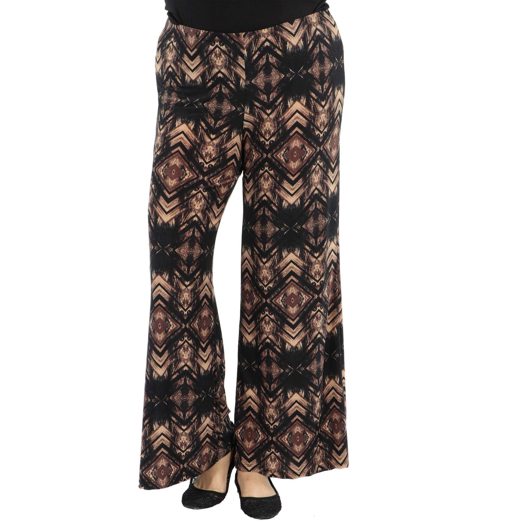 24/7 Comfort Apparel Women's Plus Glamour Goes Anywhere Wide Leg Pants