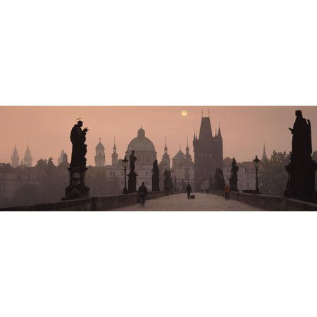 Charles Bridge at Dusk with the Church of St. Francis in the Background, Old Town Bridge Tower, ... Print Wall Art By Panoramic (St Charles Town Center)