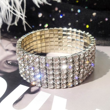 Fancyleo 6 Rows Rhinestone Crystal Stretch Bracelet Bridal Bridesmaid Jewelry Women Girl 3 Row Stretch Rhinestone Bracelet
