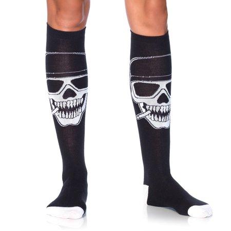 Leg Avenue Biker Babe Skeleton Knee High Socks - One Size