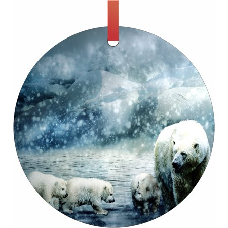 Beans Christmas Ornament (Polar Bears in Snowy Mountains Semigloss Flat Round Shaped Ornament Xmas Tree Christmas Décor - Christmas Room Décor and Ornament Yard Decorations)
