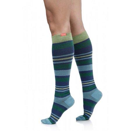 Women's Cotton Blend Aqua & Green Fun Stripes Compression Socks Wide (Aqua Cotton Blend)