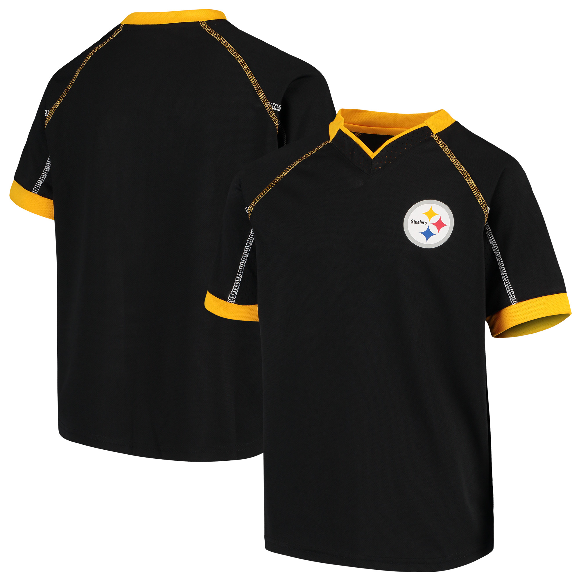 Youth Black Pittsburgh Steelers Pin Dot V-Neck T-Shirt