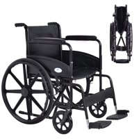 Costway 24'' Lightweight Foldable Medical Wheelchair w/ Footrest FDA Approved