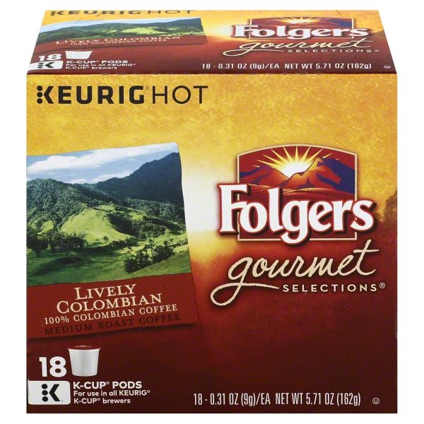 Folgers 100% Colombian Coffee K-Cup Pods, 18 Count