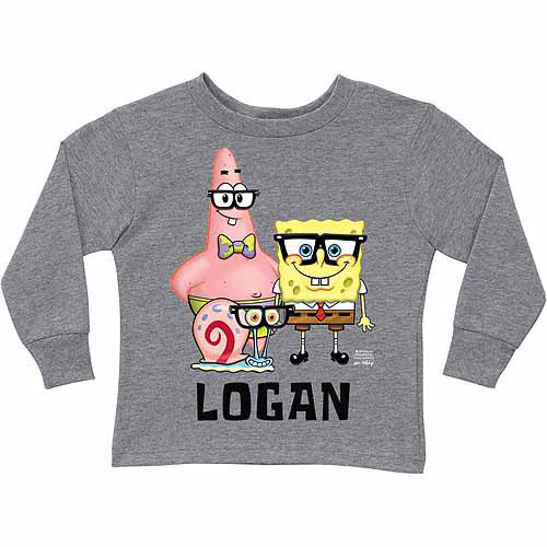 Personalized SpongeBob SquarePants Glasses Trio Toddler Boy Gray Long Sleeve Tee