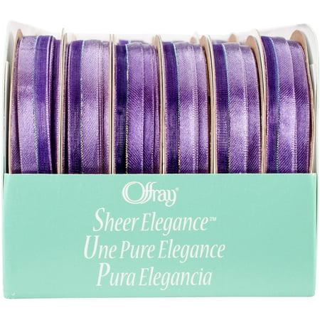 - Offray Sheer Elegance Boxed Ribbon Assortment 24/Pkg-Purple