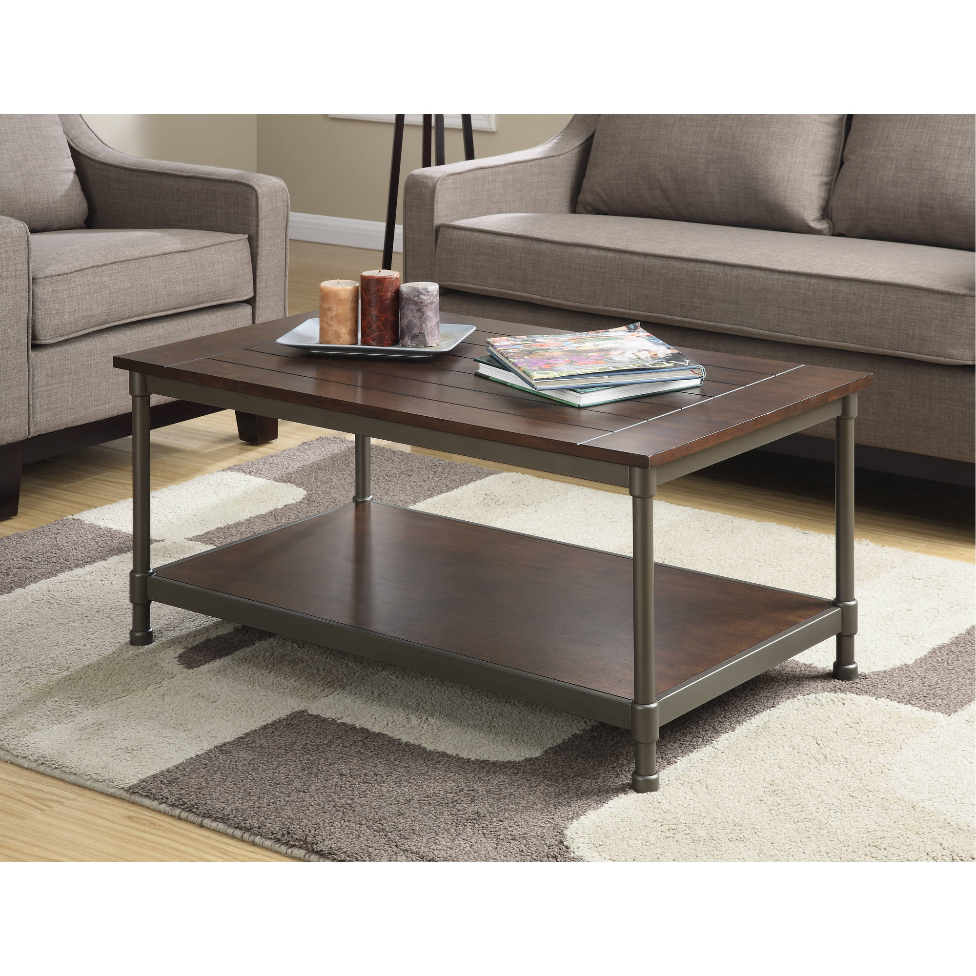 Sullivan Coffee Table, Pewter/Walnut Finish
