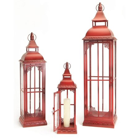 Set of 3 Red and Clear Pillar Candle Lanterns - Red Lantern Seattle