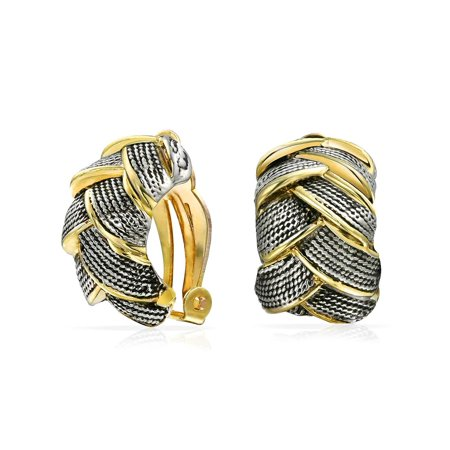 Woven Braided Basket Weave Wide Half Hoop Clip Earrings On Button Style Non Pierced Ears Oxidized Gold Plated Brass