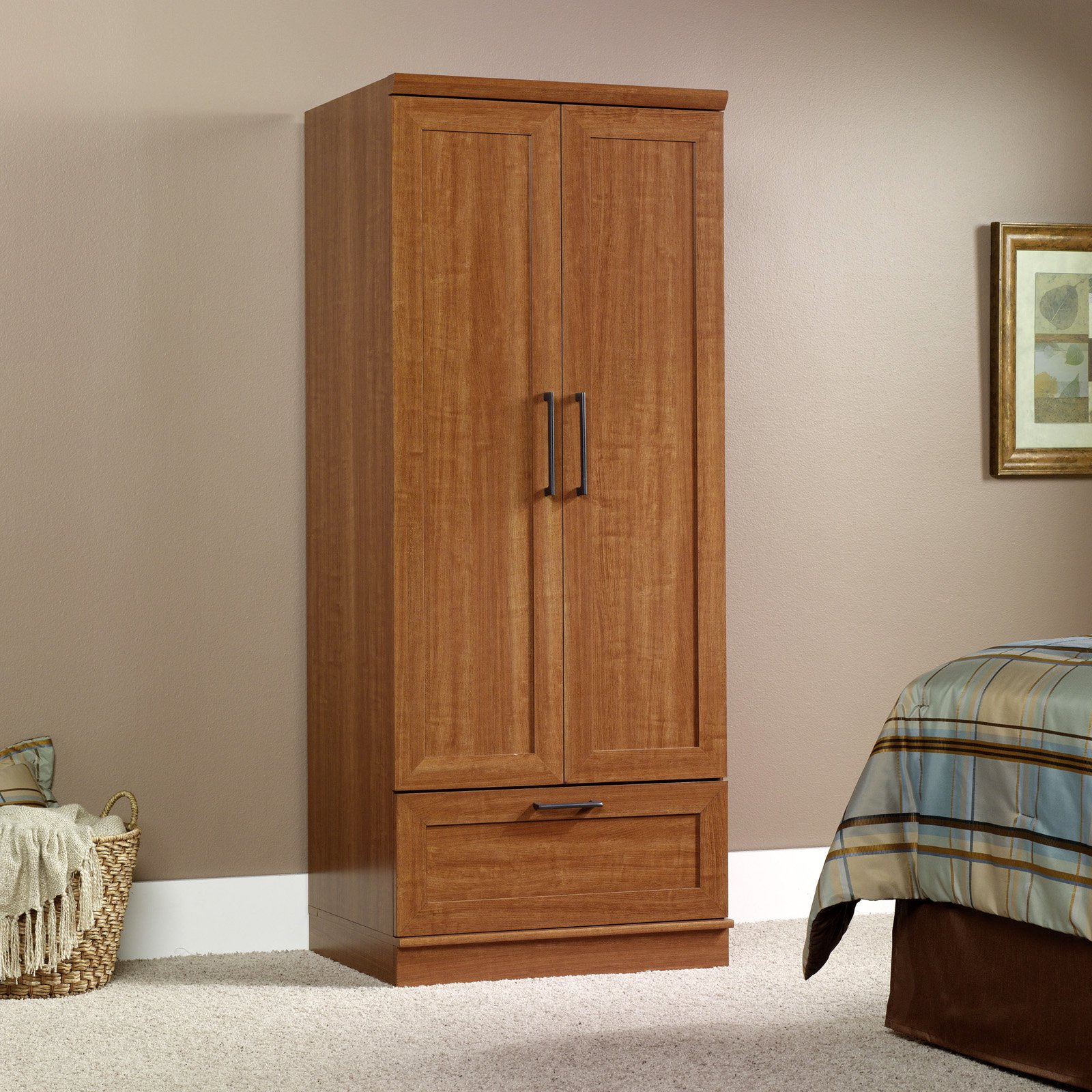 sauder homeplus wardrobe storage cabinet sienna oak Sauder Homeplus Wardrobe/Storage Cabinet, Sienna Oak Finish  sauder homeplus wardrobe storage cabinet sienna oak