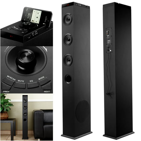 Frisby 2.1 Ch Wireless Bluetooth Floorstanding Tower Home Speaker System with Built in Dock Station, USB Charging, Aux 3.5mm, SD Slot, FM Radio & EQ Settings