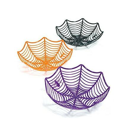 Halloween Basket Printable (HALLOWEEN Set 3 Large Spider Web Plastic Basket Bowls for Candy or Favors (purple, black,)