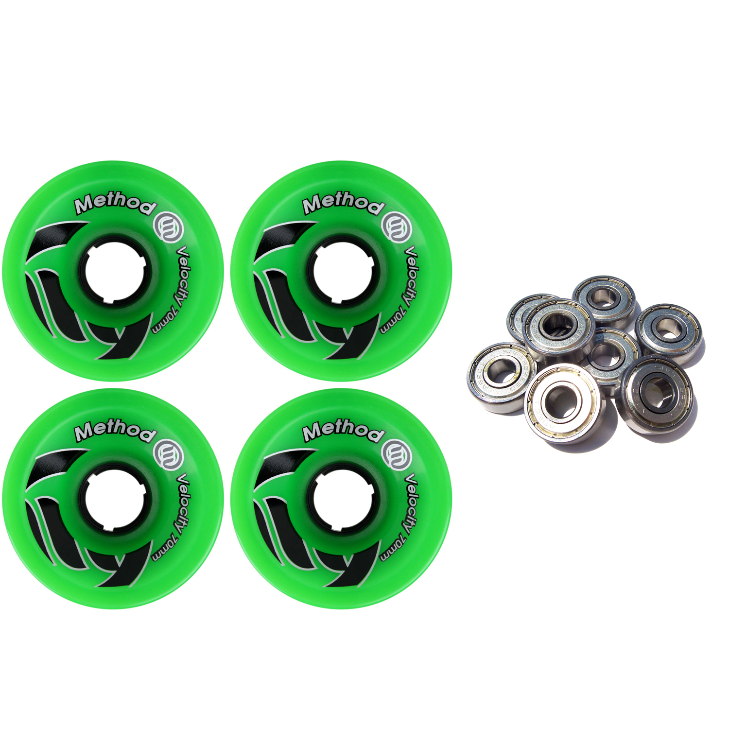 METHOD Longboard Wheels VELOCITY GREEN 70mm 81A USA with BEARINGS