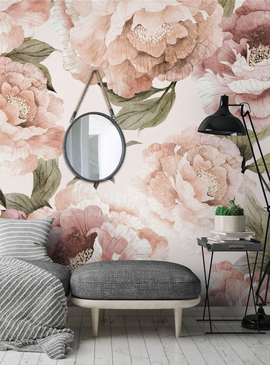 Bloom Flower Mural Wall Art Peel and Stick Wallpaper ...