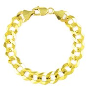"""14k Yellow Gold Mens Solid 10mm Curb Cuban Link Chain Bracelet, 8"""" 8.5"""" 9"""""""