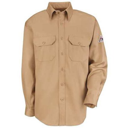 BULWARK SLU8KH FR Long Sleeve Shirt,Button,Khaki,L