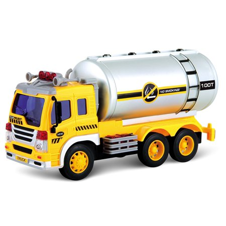 Friction Powered Oil Tanker Truck Toy With Lights And Sounds Press 1 of the 4 buttons on top of the truck to turn on the lights and sound, engine on, horn beep, reverse sound, duty