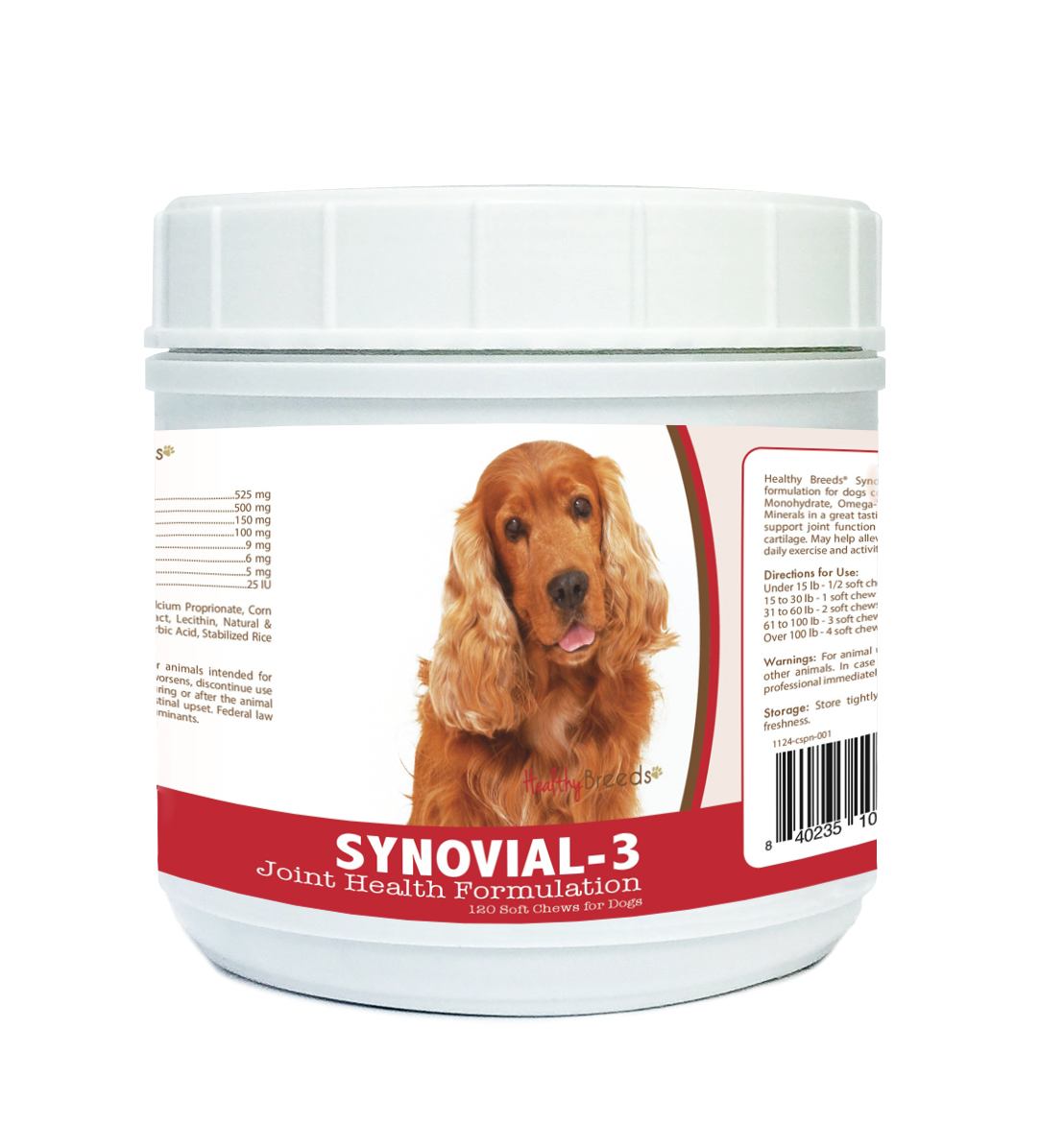 Healthy Breeds Synovial-3 Dog Hip and Joint Supplement for Cocker Spaniel, Glucosamine Omega 3 Vitamin C & E Support, 120 Soft Chew Treats