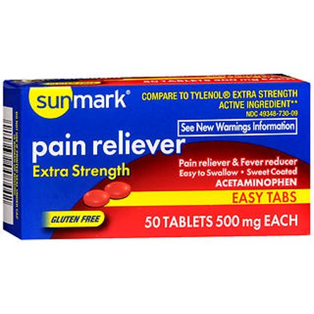 Enuraid 50 Tabs (Sunmark Pain Reliever 500 mg Tablets Easy Tabs - 50 ct )