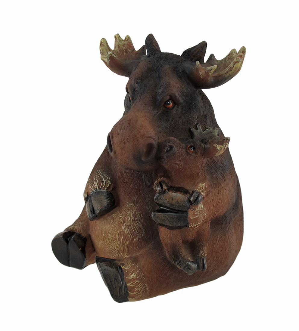 Mother Holding Baby Moose Sculptured Coin Bank