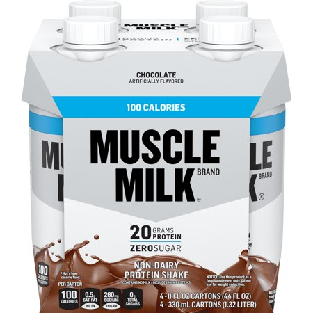 Muscle Milk 100 Calorie Protein Shake, 20g Protein, Chocolate, 11 Fl Oz, 4 CountMuscle Milk 100 Calorie Protein Shake, 20g Protein, Chocolate, 11 Fl Oz, 4 Count