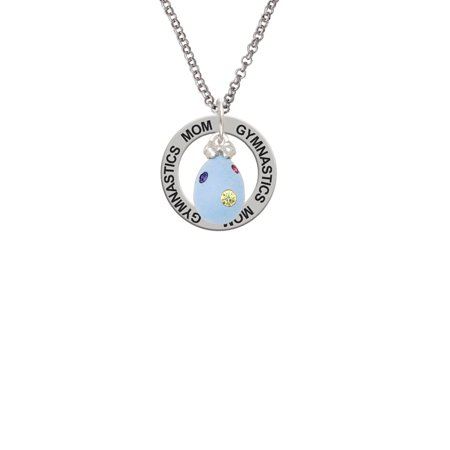 Dot Mother Of Pearl Ring - Light Blue Easter Egg with Multicolored Crystal Dots Gymnastics Mom Affirmation Ring Necklace