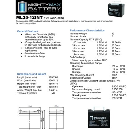 12V 35AH SLA Internal Thread Battery for Titan Front Whesel Power - image 4 of 6
