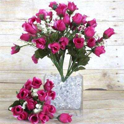 180 Artificial Silk Mini Rose Buds Wedding Bouquet Vase Center - Fushia - Mini Bud Vases