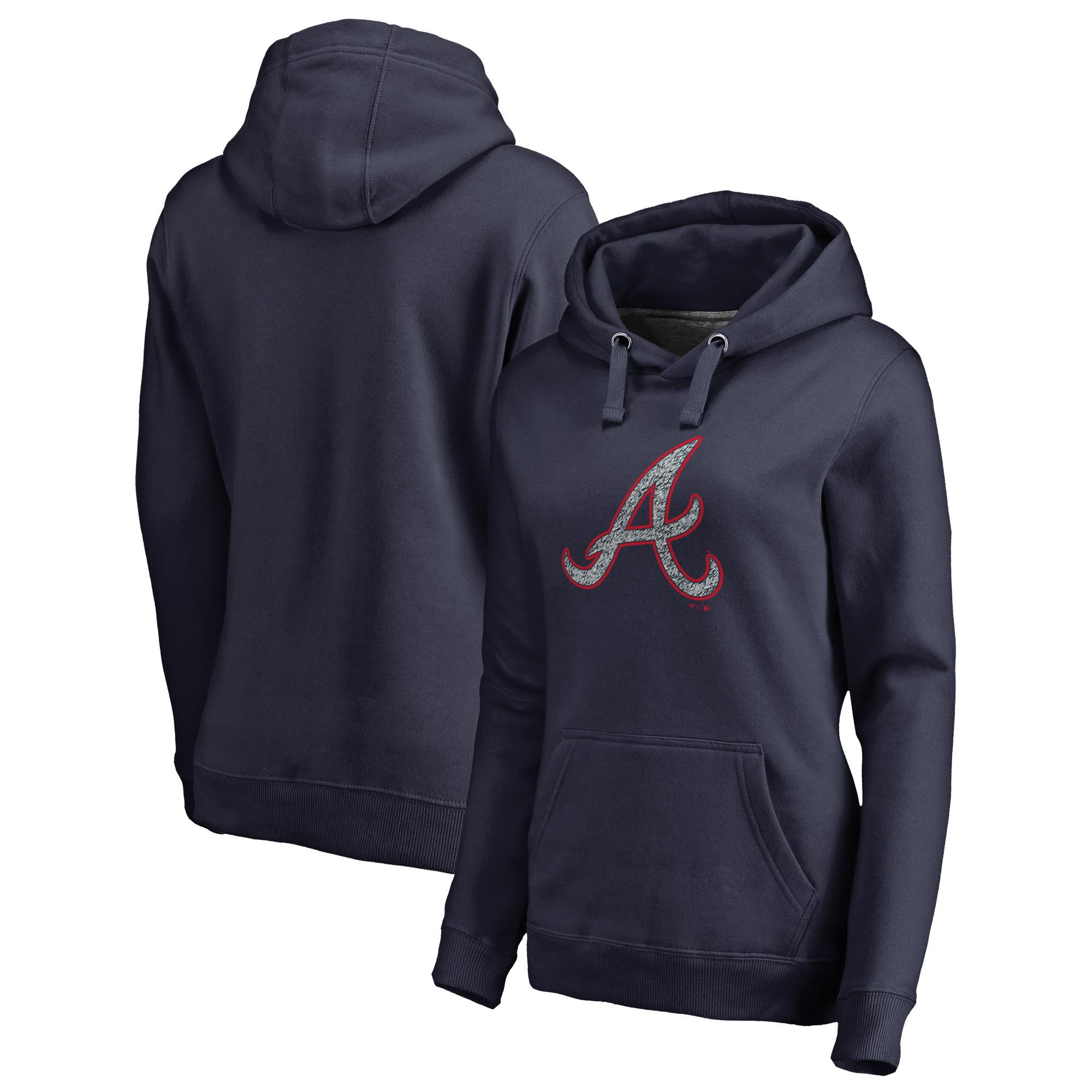 Atlanta Braves Fanatics Branded Women's Static Logo Pullover Hoodie - Navy