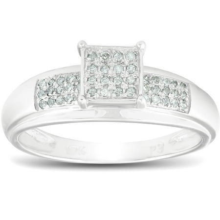 Cut Micro Pave Diamond (1/4ct Princess Cut Diamond Engagement Pave Ring Solid 10K White Gold )