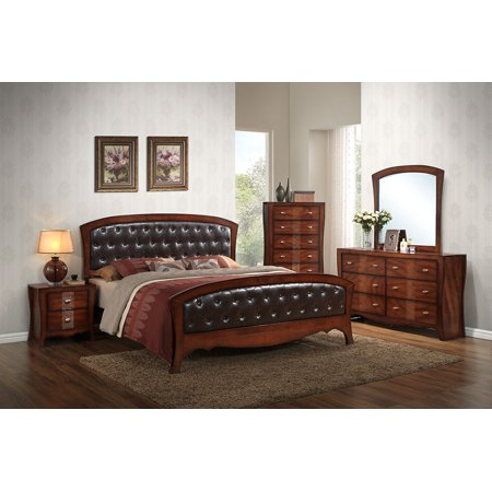 Home Source Jenny Bedroom Queen Bed, Dresser, Mirror, 2 Nightstands and Chest