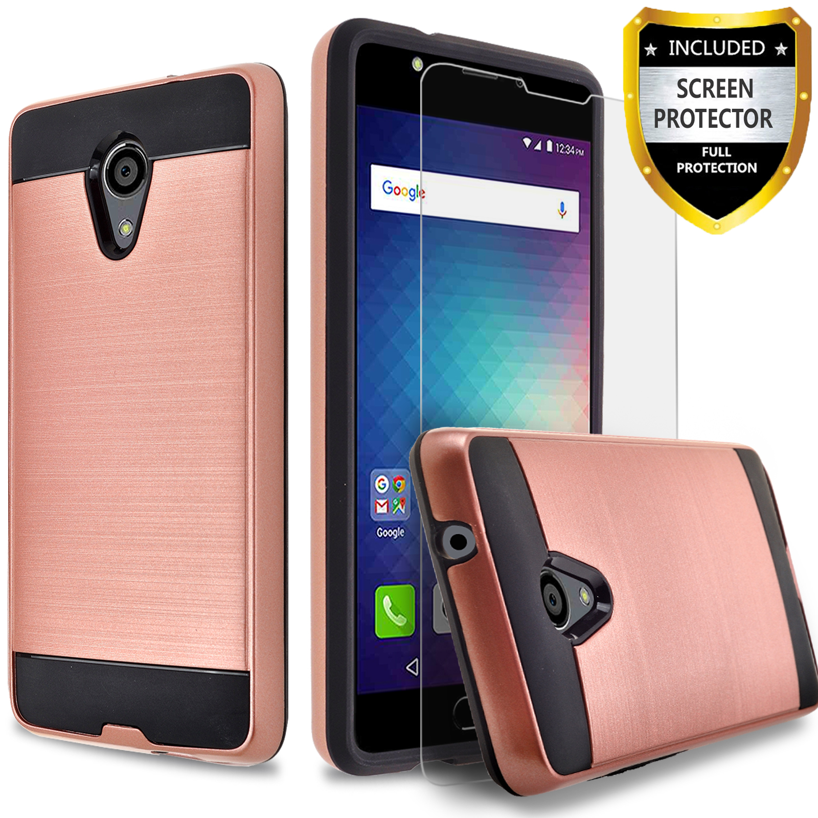 BLU Life One X2 Case, 2-Piece Style Hybrid Shockproof Hard Case Cover with [Premium Screen Protector] Hybird Shockproof And Circlemalls Stylus Pen (Rose Gold)