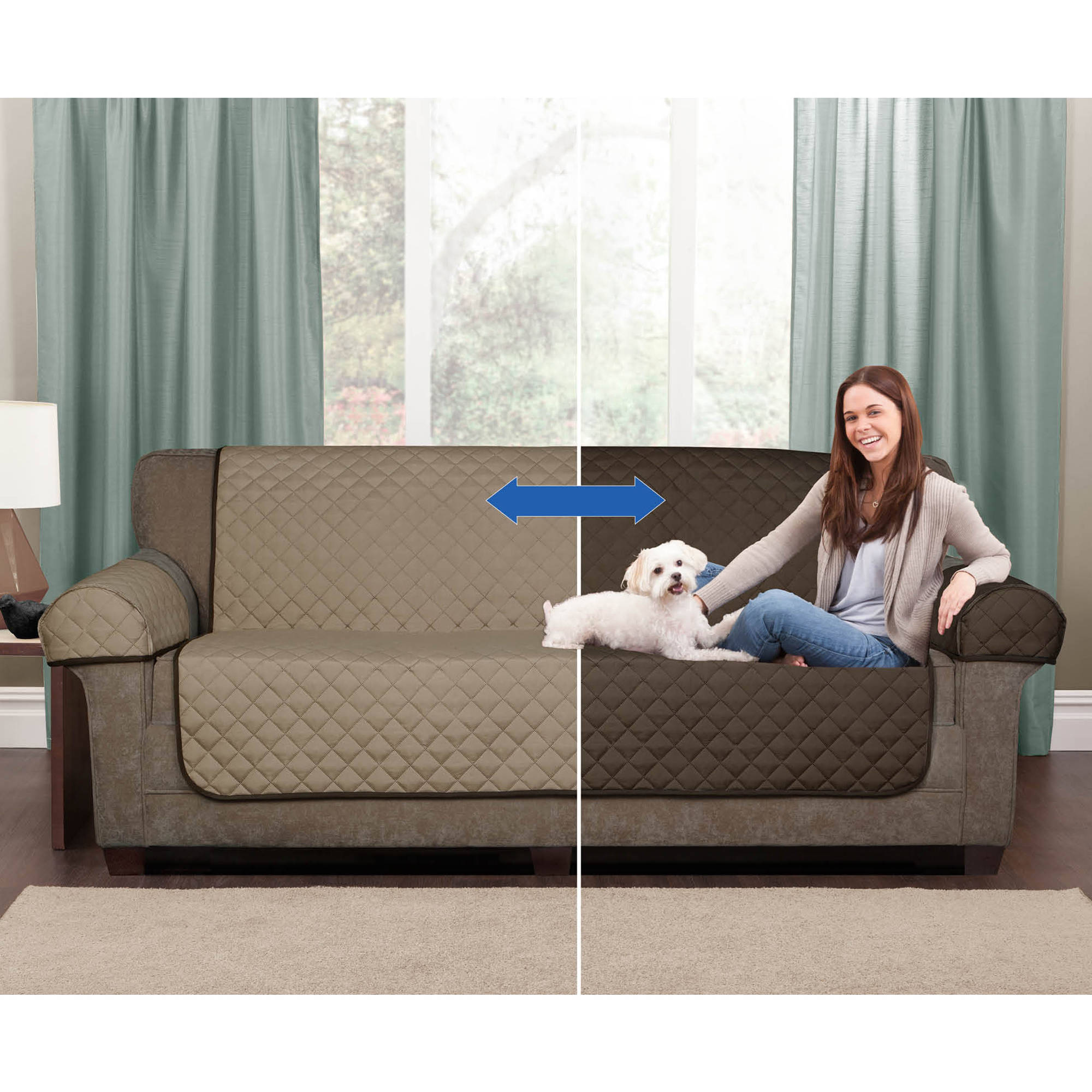 Mainstays Reversible Microfiber 3 Piece Sofa Furniture Cover Protector    Walmart.com